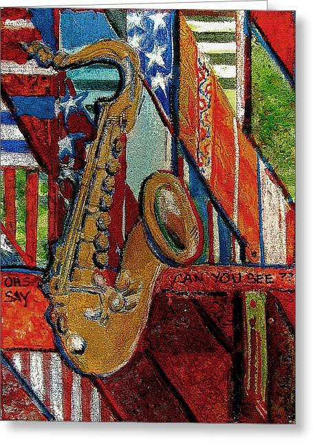 Saxaphone Greeting Cards - Oh Say Can You See Greeting Card by Mindy Newman