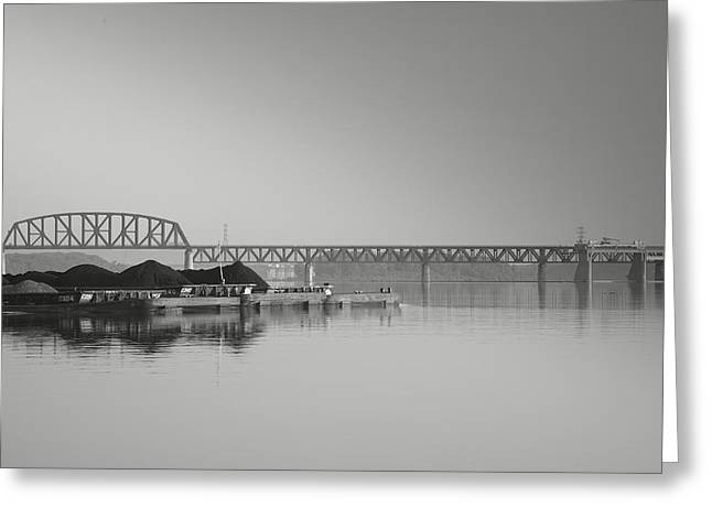 Railroads Framed Prints Greeting Cards - Ohio River Coal Barge I Greeting Card by Steven Ainsworth