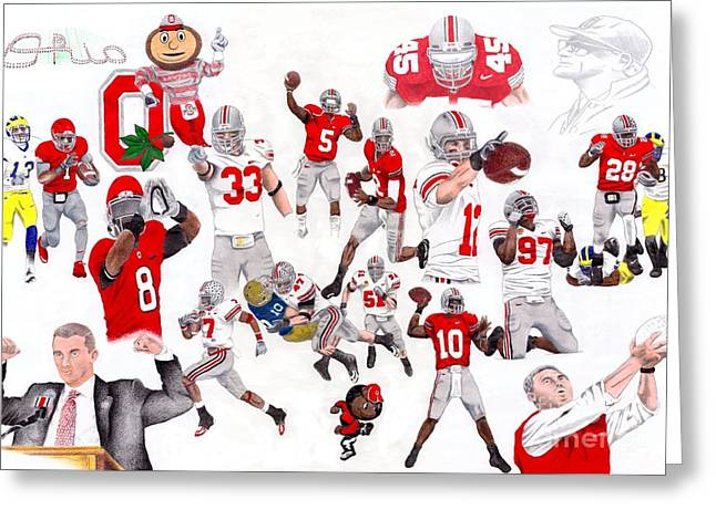 Script Drawings Greeting Cards - Ohio State Collage Greeting Card by Gerard  Schneider Jr