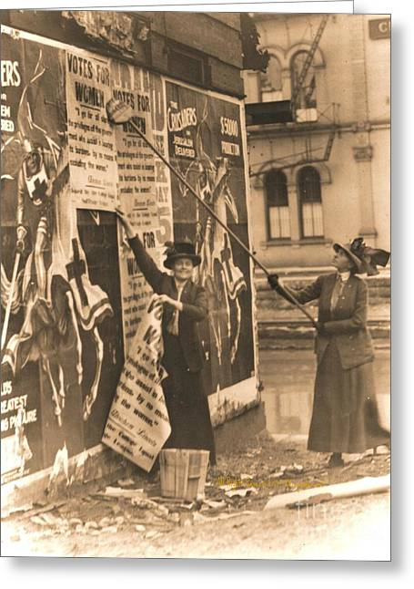 Political Rally Greeting Cards - Ohio Suffragettes Posting Bills in Cincinnati Greeting Card by Padre Art