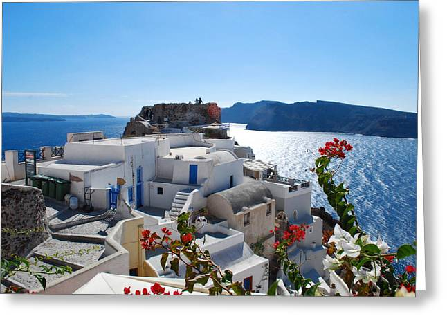 Jeka World Photography Greeting Cards - Oia Castle Greeting Card by Jeff Rose