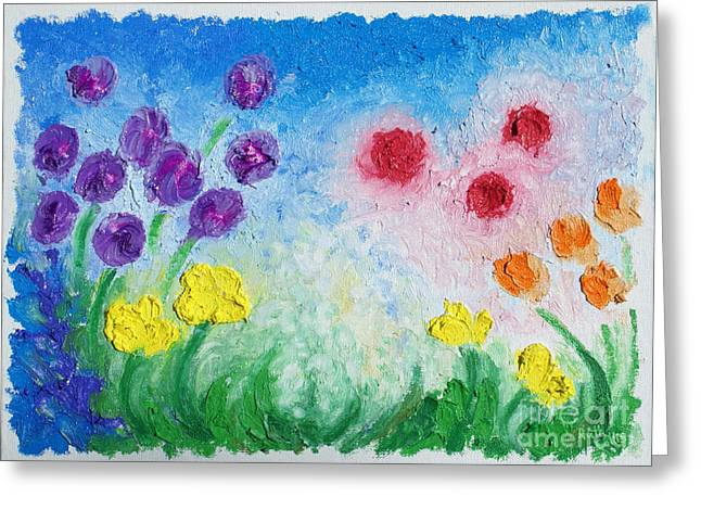 Colorful Reliefs Greeting Cards - Oil Bar Flowers Greeting Card by Ruth Collis