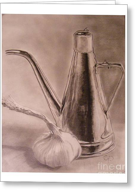 Graphite Greeting Cards - Oil Container and Garlic Greeting Card by Crispin  Delgado