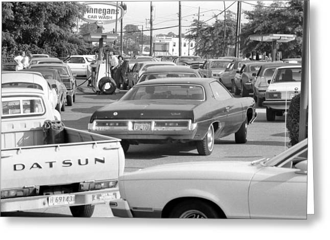 American Automobiles Greeting Cards - Oil Crisis, 1979 Greeting Card by Granger
