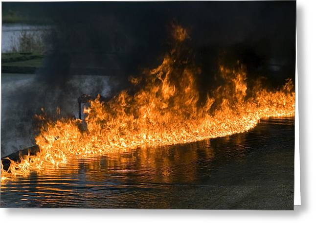 Combusting Greeting Cards - Oil Fire Greeting Card by Paul Rapson