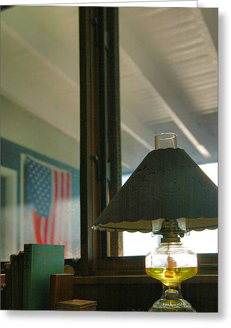 Finger Lakes Greeting Cards - Oil Lamp and Porch Greeting Card by Steven Ainsworth