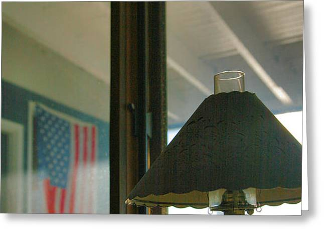Oil Lamp and Porch Greeting Card by Steven Ainsworth