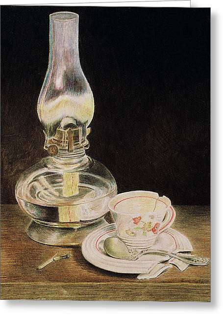 Oil Lamp Drawings Greeting Cards - Oil Lamp and Tea Cup Greeting Card by Timothy Theis