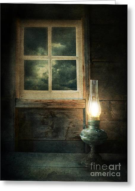 Haunted House Photographs Greeting Cards - Oil Lamp on Table by Window Greeting Card by Jill Battaglia