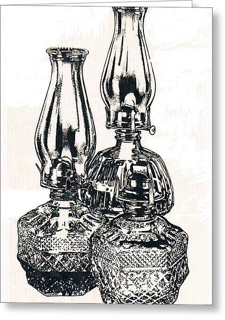 Oil Lamp Drawings Greeting Cards - Oil Lamps Greeting Card by Barbara Keith