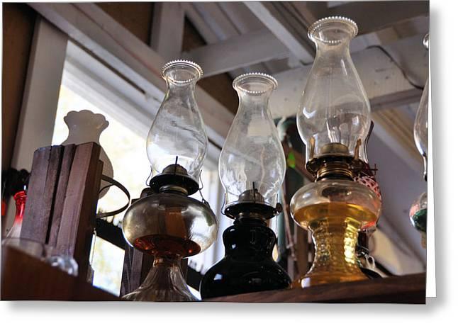 Interior Still Life Photographs Greeting Cards - Oil Lamps Greeting Card by Jan Amiss Photography
