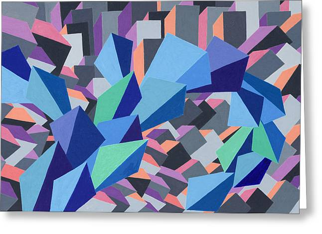 Abstract Geometric Pastels Greeting Cards - Blue Barge Through the Purple City Greeting Card by Sean Corcoran