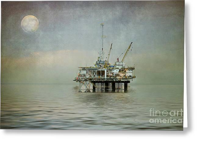 Sea Platform Greeting Cards - Oil Platform Under the Moon Textured Greeting Card by Susan Gary