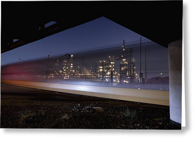 Oil Refinery And Train Blur Greeting Card by Mike Raabe