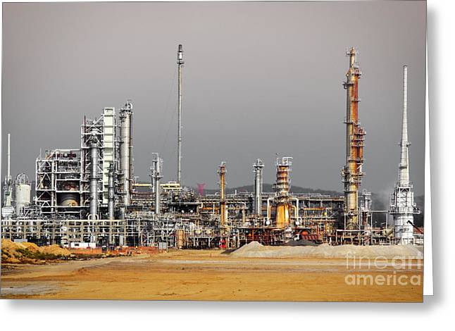 Development Greeting Cards - Oil Refinery Greeting Card by Carlos Caetano