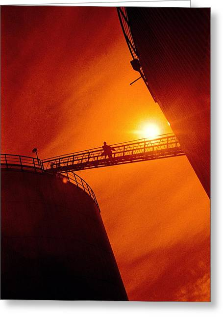 Industrial Concept Greeting Cards - Oil Refinery Gantry Greeting Card by Richard Kail
