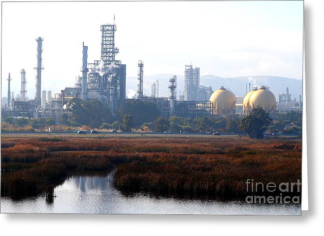Crude Oil Greeting Cards - Oil Refinery Industrial Plant In Martinez California . 7D10364 Greeting Card by Wingsdomain Art and Photography