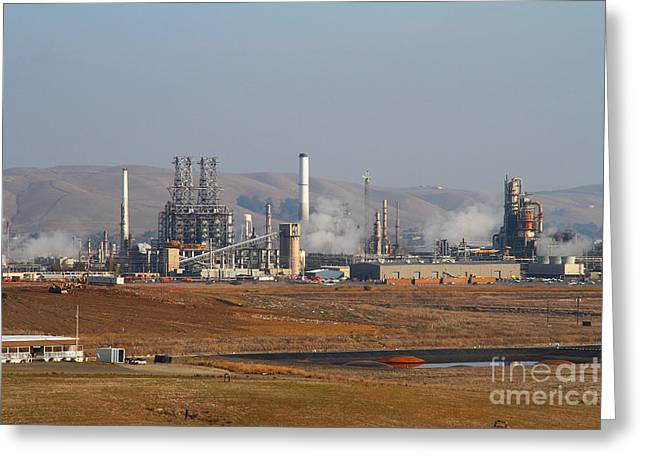 Crude Oil Greeting Cards - Oil Refinery Industrial Plant In Martinez California . 7D10390 Greeting Card by Wingsdomain Art and Photography