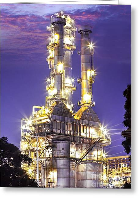 Sustainability Greeting Cards - Oil Refinery Plant At Twilight Morning  Greeting Card by Anek Suwannaphoom