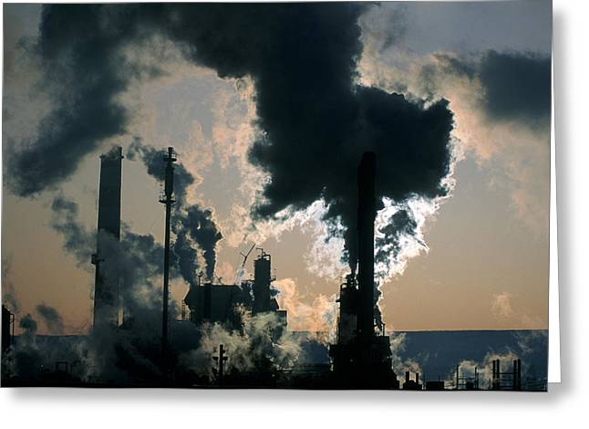 Combusting Greeting Cards - Oil Refinery, Pollution Greeting Card by Ron Watts