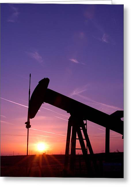 Digs Greeting Cards - Oil Rig At Sunset Greeting Card by Connie Cooper-Edwards