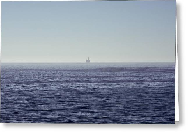 Ventura California Greeting Cards - Oil Rig on Ocean Greeting Card by Eddy Joaquim