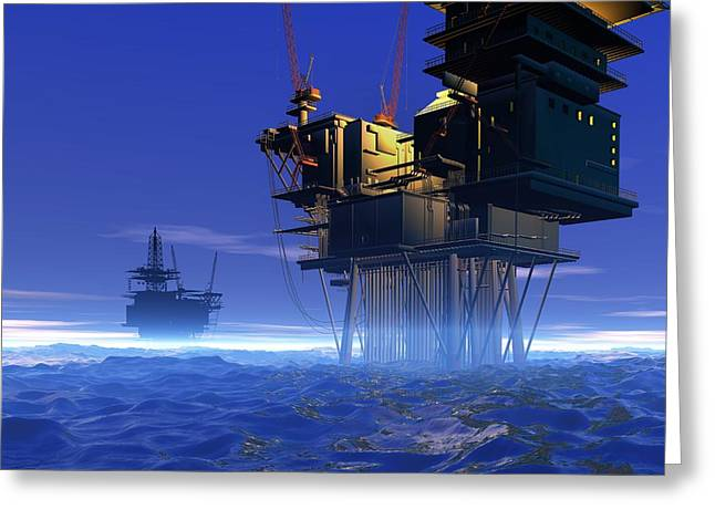 Sea Platform Greeting Cards - Oil Rigs, Artwork Greeting Card by Victor Habbick Visions