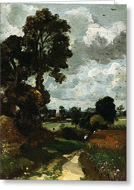 Constable; John (1776-1837) Greeting Cards - Oil Sketch of Stoke-by-Nayland Greeting Card by John Constable