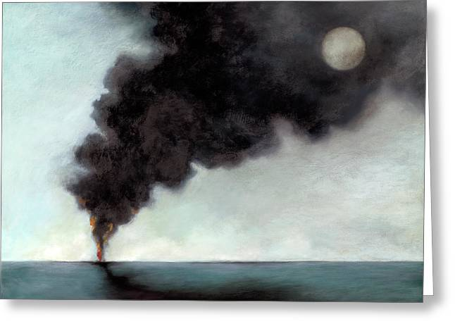 Oil Slick Greeting Cards - Oil Spill 3 Greeting Card by Katherine DuBose Fuerst