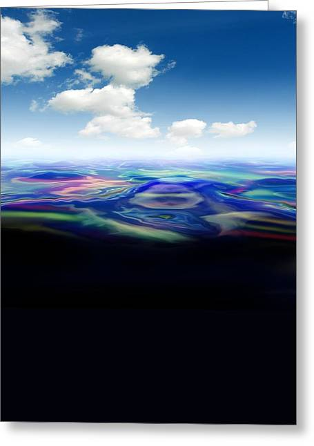 Oil Slick Greeting Cards - Oil Spill, Artwork Greeting Card by Victor Habbick Visions