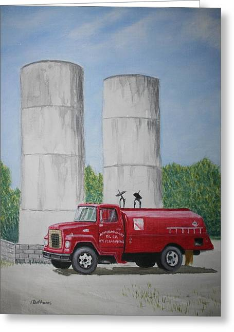 Stacy Bottoms Greeting Cards - Oil Truck Greeting Card by Stacy C Bottoms