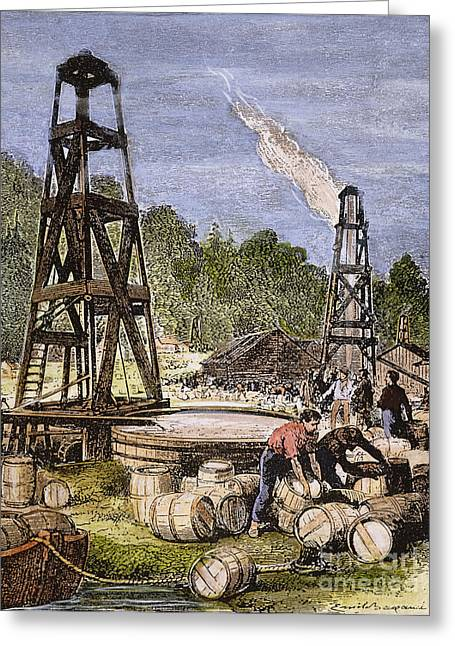 19th Century America Photographs Greeting Cards - Oil Well, 19th Century Greeting Card by Granger