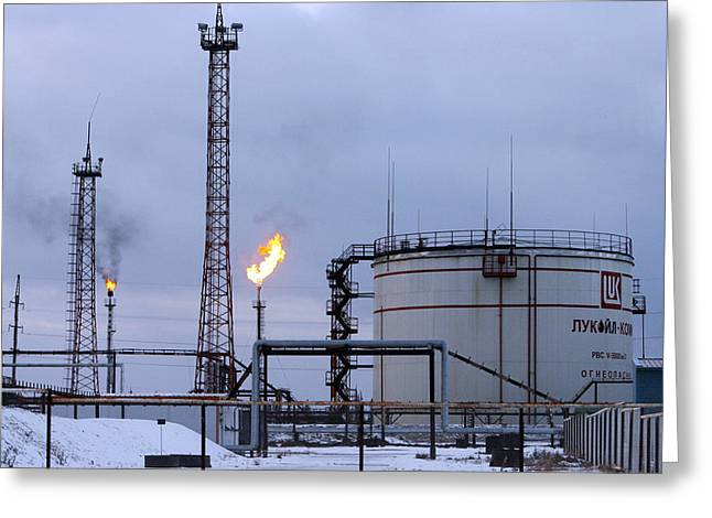 Pumping Station Greeting Cards - Oil Wells And Natural Gas Storage Tank Greeting Card by Ria Novosti