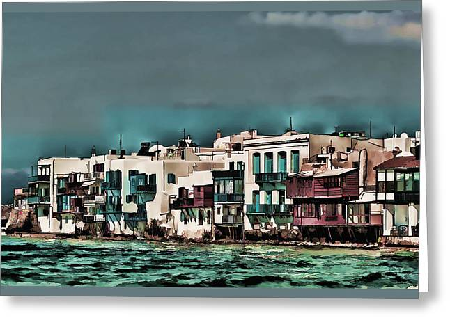 Best Ocean Photography Greeting Cards - Oill Paint Effect Mykonos Greece Greeting Card by Tom Prendergast
