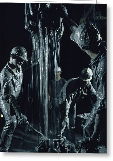 Limited Colors Greeting Cards - Oilmen Covered In Mud Pull Up A Drill Greeting Card by David Boyer