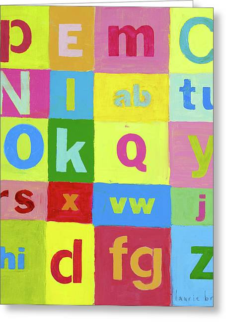 Baby Room Greeting Cards - Okay Abcs Greeting Card by Laurie Breen