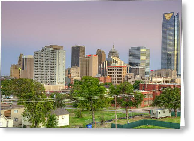 Okc Greeting Cards - Oklahoma City Dusk Greeting Card by Ricky Barnard