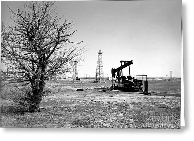 Old Tree Greeting Cards - Oklahoma Oil Field Greeting Card by Larry Keahey