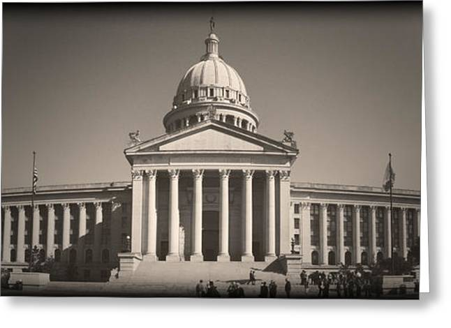 Public Administration Greeting Cards - Oklahoma State Capitol Vintage Greeting Card by Ricky Barnard