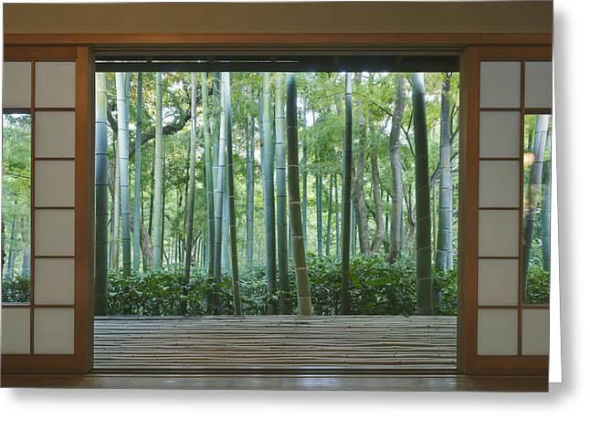 Bamboo House Greeting Cards - Okochi Sanso Villa Bamboo Garden Greeting Card by Rob Tilley