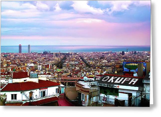 Occupy Greeting Cards - Okupay Barcelona Greeting Card by Jeff Stein
