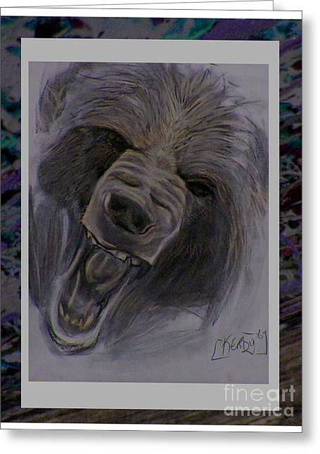 Growling Greeting Cards - Okwari Greeting Card by Kerdy Mitcho