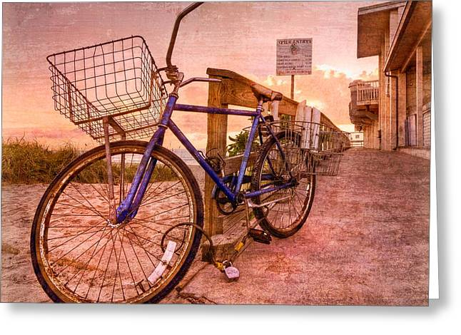 Sunset Posters Greeting Cards - Ol Bike Greeting Card by Debra and Dave Vanderlaan