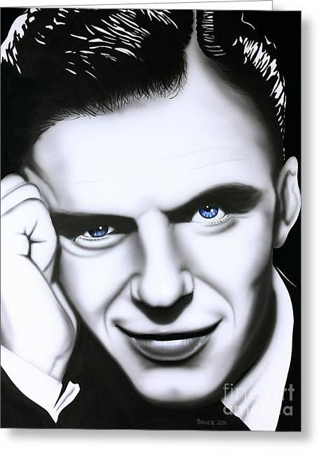 Frank Sinatra Greeting Cards - Ol Blue Eyes Greeting Card by Bruce Carter
