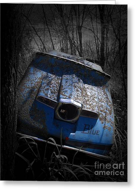 Snowmobile Greeting Cards - Ol Blue Greeting Card by The Stone Age