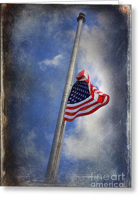 Ol Glory At Half Mast Greeting Card by The Stone Age