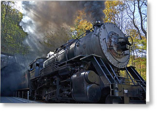 Train Tracks Greeting Cards - Old 734 Locomotive Train on The Western Maryland Scenic Railroad Greeting Card by Brendan Reals