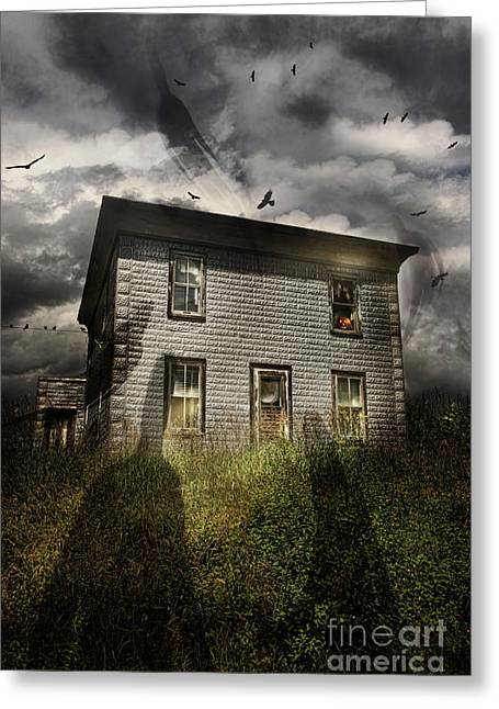 Ghost Story Greeting Cards - Old ababdoned house with flying ghosts Greeting Card by Sandra Cunningham