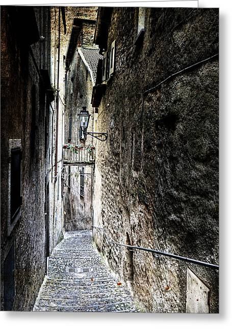 City Buildings Greeting Cards - old alley in Italy Greeting Card by Joana Kruse