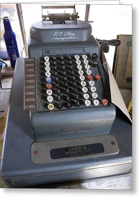 Old Cash Register Keys Greeting Cards - Old American Cash Register Greeting Card by Mark Williamson